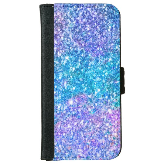 Glitter Texture Turquoise & Purple iPhone 6 Wallet Case