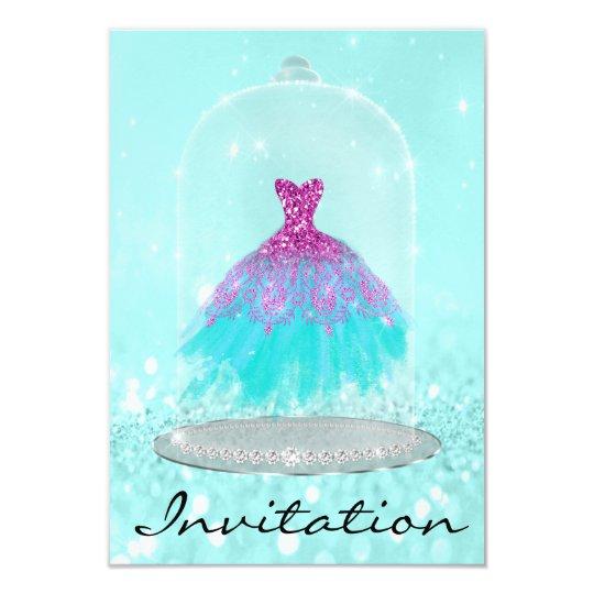 Glitter Tiffany Pink Diamond Dress Sweet 16th Card
