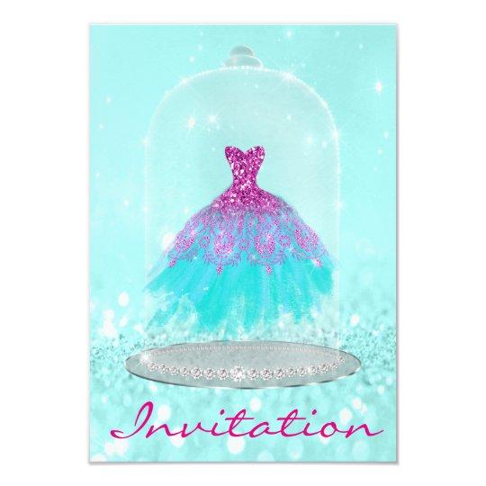 Glitter Tiffany Pink Diamond Dress Sweet 16th Grey Card