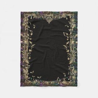 Glitter Trimmed Gold Music Notes Design Blanket