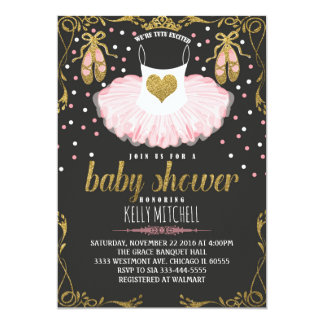 Glitter Tutu baby Shower invitation, pink and gold Card