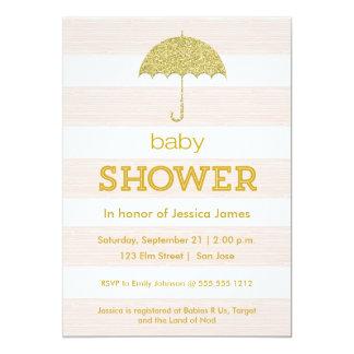 Glitter umbrella baby shower invitation - pink