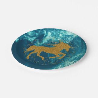 Glitter Unicorn Deep Blue Space Gold Diamond Paper Plate