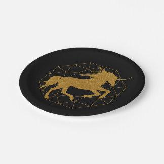Glitter Unicorn inside Gold Diamond Custom Color Paper Plate