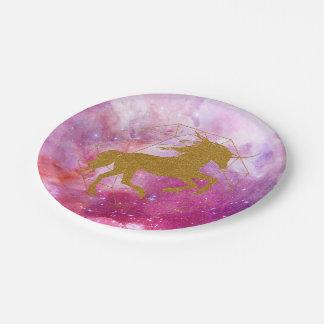 Glitter Unicorn inside Pink Galactic Gold Diamond Paper Plate