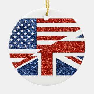 glitter usa uk ceramic ornament