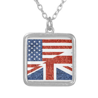 glitter usa uk silver plated necklace