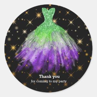 Glitter watercolor dresses classic round sticker