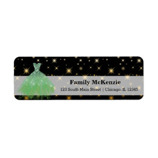 Glitter watercolor dresses return address label