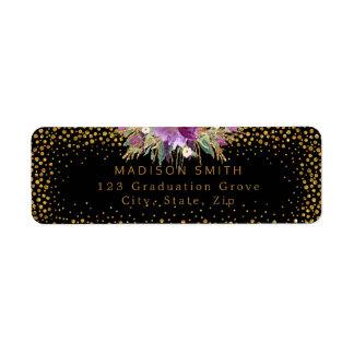 Glitter Watercolor Flowers Gold Confetti Black Return Address Label