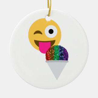 glitter wink emoji ceramic ornament
