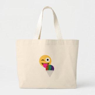 glitter wink emoji large tote bag