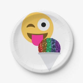 glitter wink emoji paper plates 7 inch paper plate