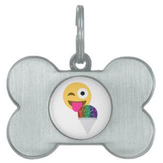 glitter wink emoji pet name tag