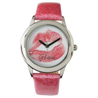 Glittered Pink Lips Watch