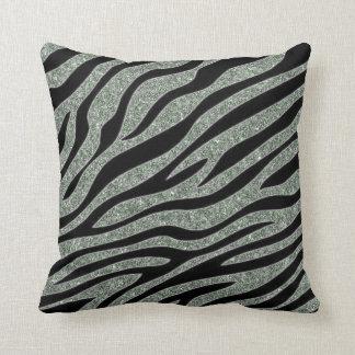Glittered Zebra Print Throw Pillow