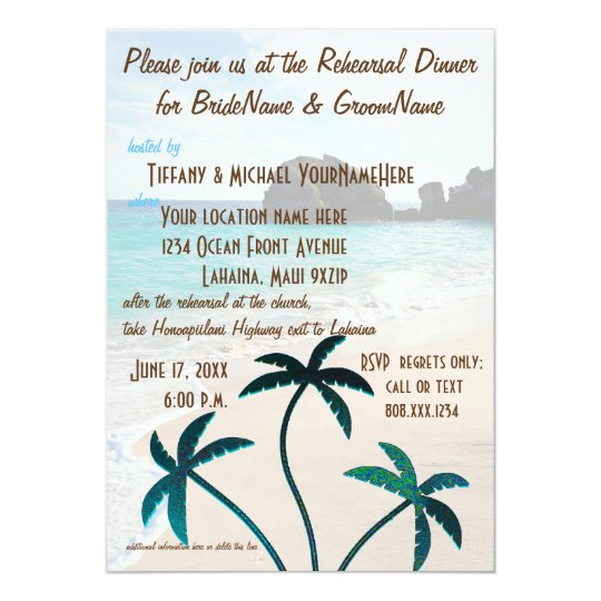 Glittering Beach Palm Trees Rehearsal Dinner Card