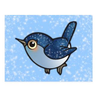 Glittering Blue Bird Postcard