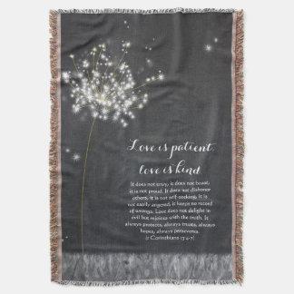 Glittering Chalkboard Dandelion Illustration Throw Blanket