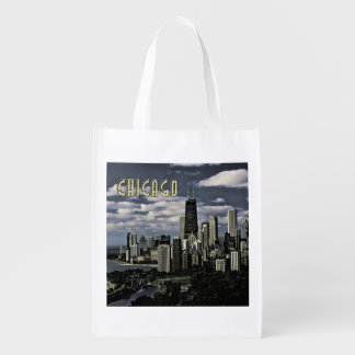 Glittering Chicago Skyline TEXT Chicago Grocery Bags