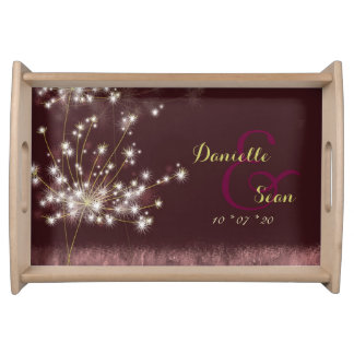 Glittering Dandelions Newlyweds Wedding Gift Trays Serving Tray
