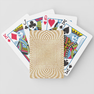 Glittering Gold Distorted Checkered Pattern Bicycle Playing Cards