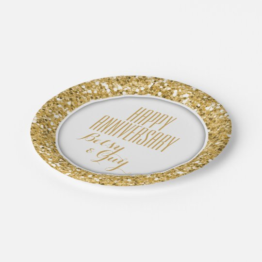 Glittering Gold Party Plate For You to Customize 7 Inch Paper Plate