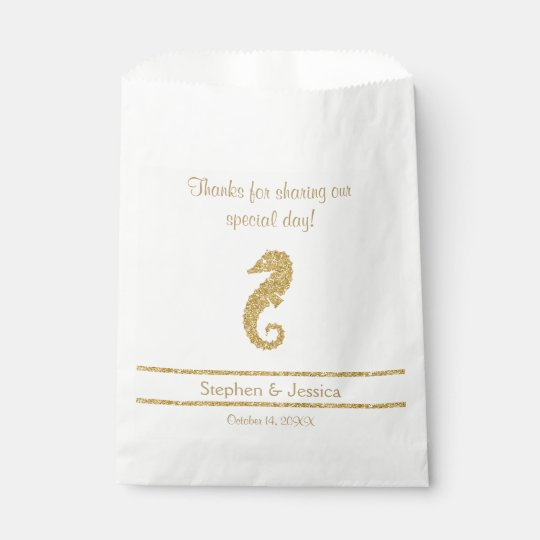 """Glittering Gold """"Thanks...Sharing Our Day"""" Favour Bag"""