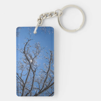 Glittering Ice and Snow Covered Trees Acrylic Keychains