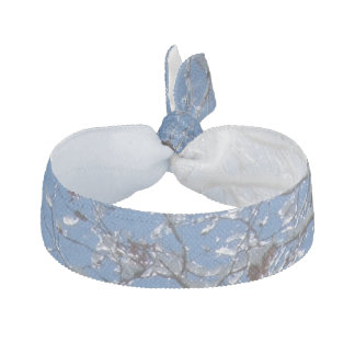 Glittering Ice Snow Covered Tree Ribbon Hair Tie