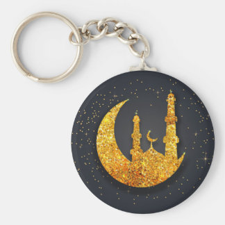 Glittering mosque and moon Basic Button Keychain