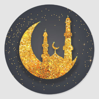 Glittering mosque and moon sticker