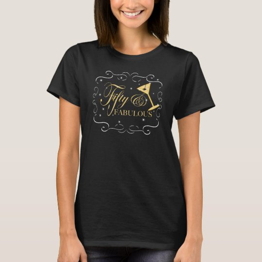 Glittering Sequin Gold Fifty and Fabulous t-shirt