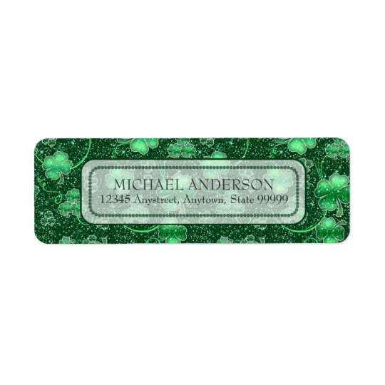 Glittering Shamrocks and Swirls ID289 Return Address Label