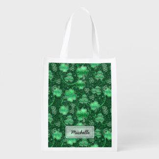 Glittering Shamrocks and Swirls ID289 Reusable Grocery Bag