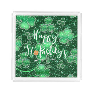 Glittering Shamrocks Happy St. Paddy's ID289 Acrylic Tray
