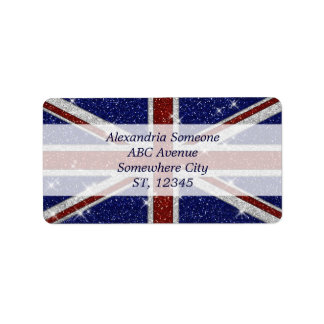 Glitters Shiny Sparkle Union Jack Flag Label