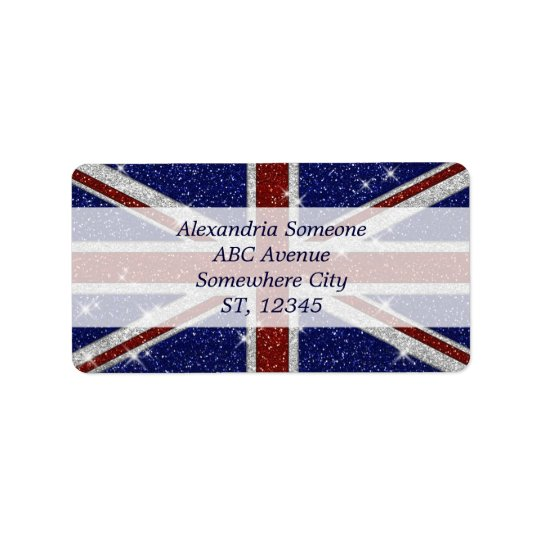 Glitters Shiny Sparkle Union Jack Flag Label