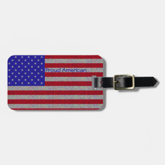 Glittery American Flag Luggage Tags