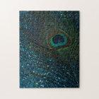 Glittery Aqua Peacock Jigsaw Puzzle