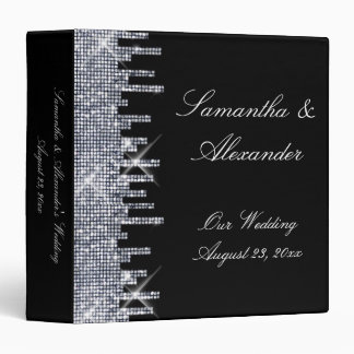 Glittery Black/Silver Glamour Wedding Album Cover 3 Ring Binders