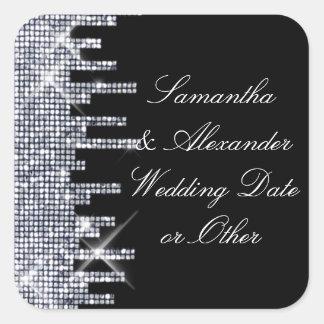 Glittery Black/Silver Glamour Wedding Custom Square Sticker