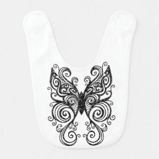 Glittery Black Tattoo Style Tribal Butterfly Baby Bibs