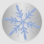 Glittery Blue and Silver Snowflake Sticker