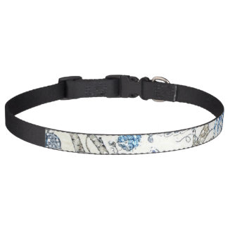 Glittery Blue Floral on Winter White Pet Collars