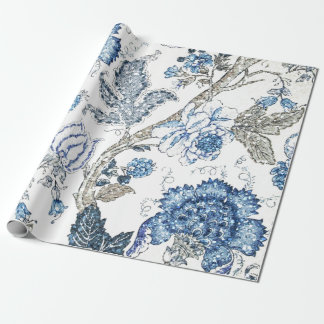 Glittery Blue Floral on Winter White Wrapping Paper