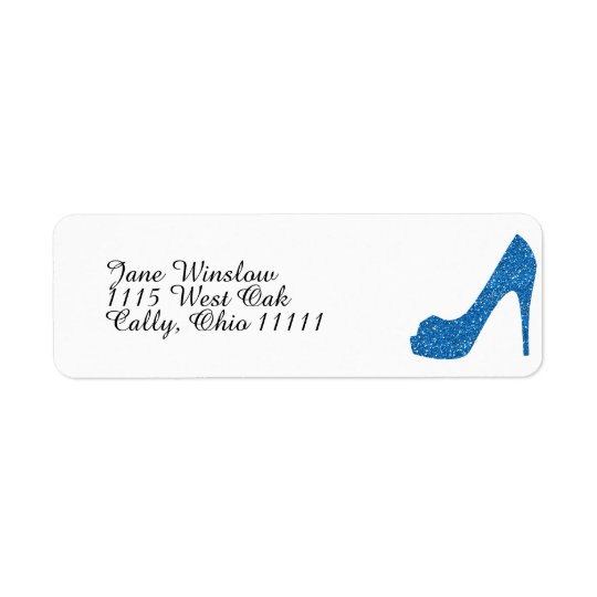 Glittery Blue High Heel Return Address Label