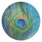 Glittery Blue Peacock Feather Still Life Plate