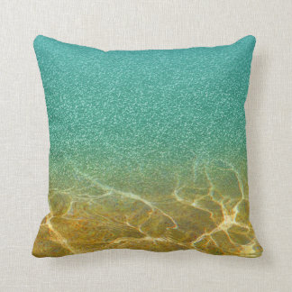 Glittery Blue Teal and Gold Sea and Sand Pillow
