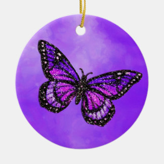 Glittery Butterfly on Watercolor Round Ceramic Ornament